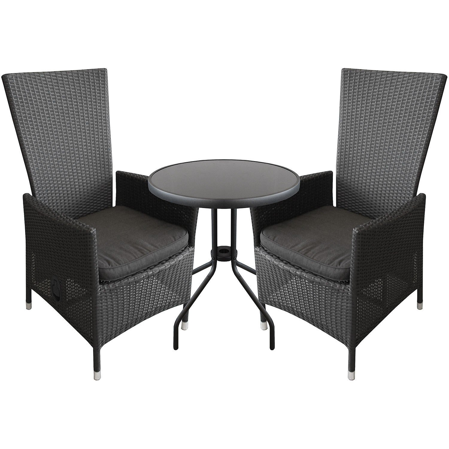 3tlg bistrogarnitur bistro set balkonm bel bistrotisch 60cm alu poly rattan sessel inkl. Black Bedroom Furniture Sets. Home Design Ideas