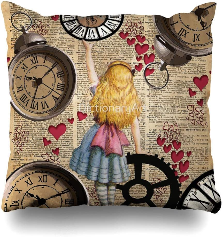 NBTJZT Square 18x18 Inches Alice in Wonderland Travelling in Time Decorative Pillow Case Home Decor Pillowcase