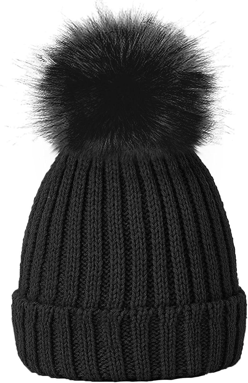 TOSKATOK Girls Faux Fur Pom Pom Beanie Hat