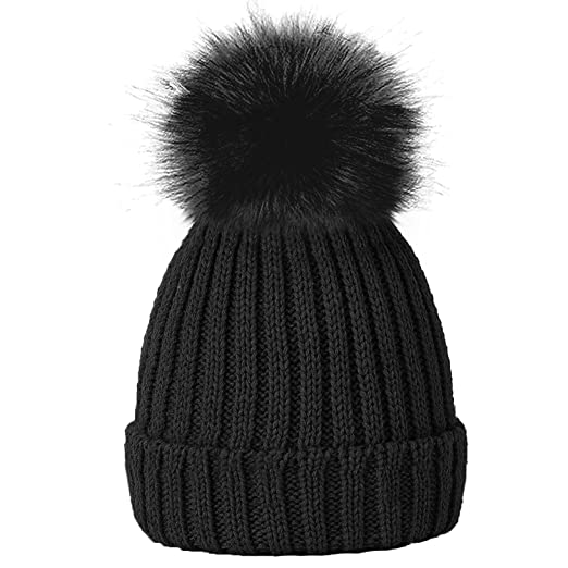 Amazon.com  TOSKATOK® Girls Faux Fur Pom Pom Beanie Hat-Black  Clothing d540c8371d6