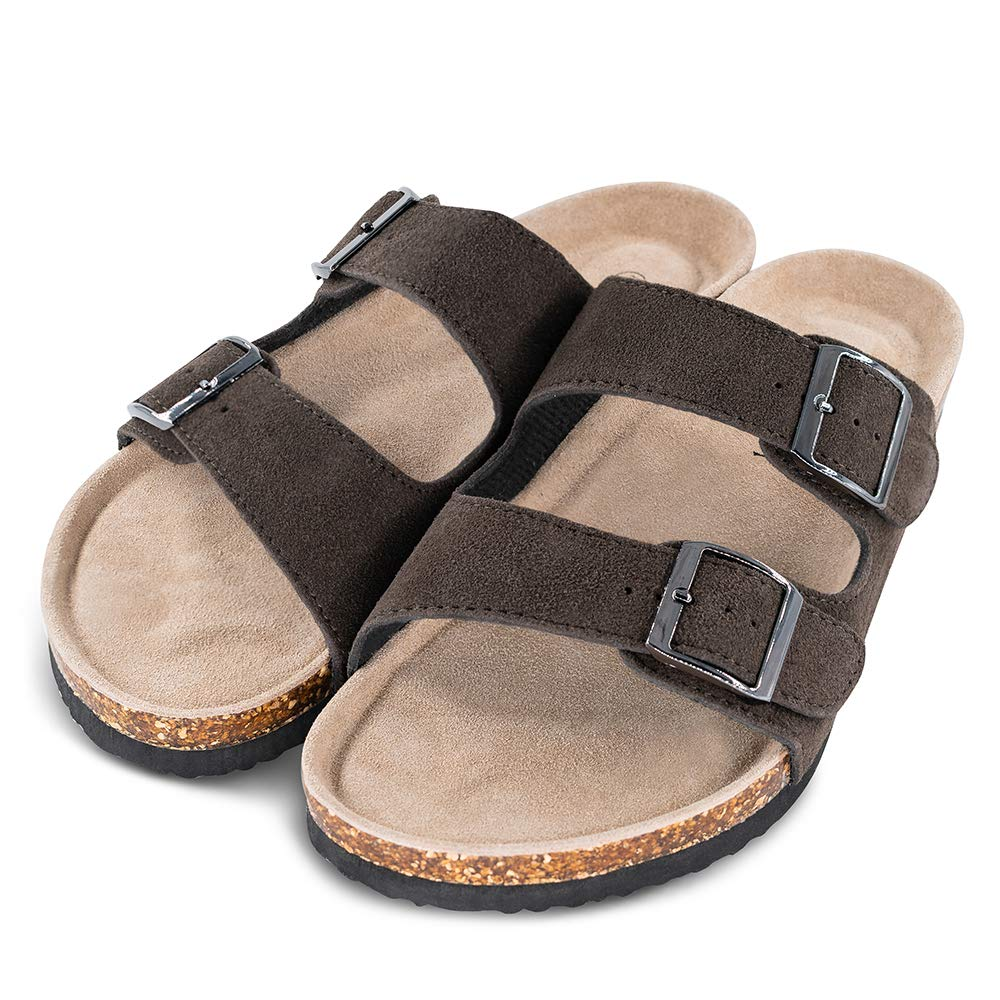 Slide Cork Footbed Shoes TF STAR Men/'s Arizona Cow Suede Leather Slide Sandals,2-Strap Adjustable Buckle,Casual Slippers
