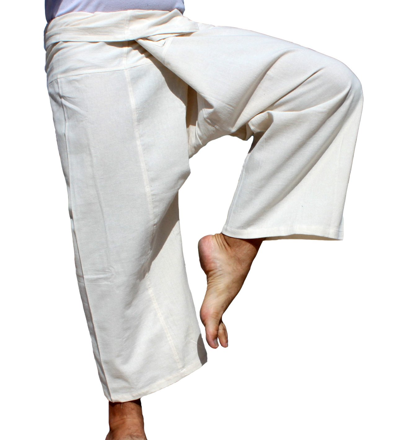 RaanPahMuang Brand Light Summer Cotton Thai Plus Fisherman Wrap Pants, XX-Large, Pearl White by RaanPahMuang
