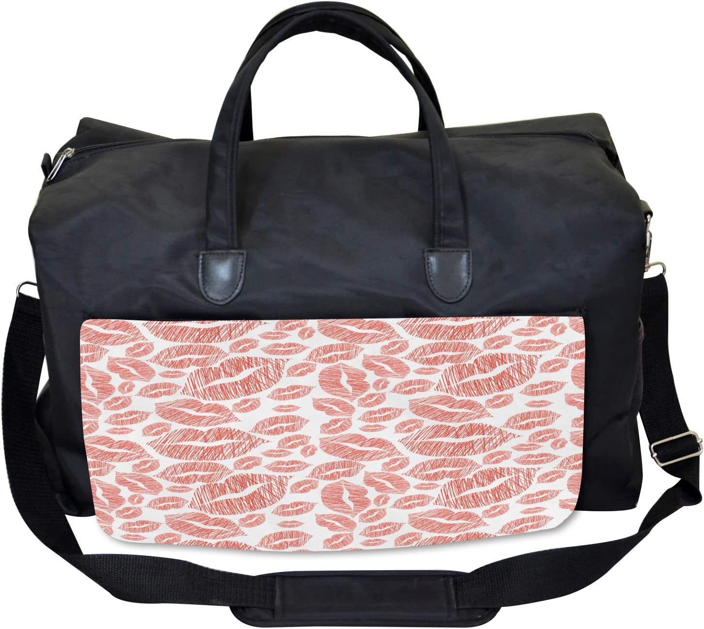 Large Weekender Carry-on Ambesonne Romantic Gym Bag Hot Retro Lady Lips
