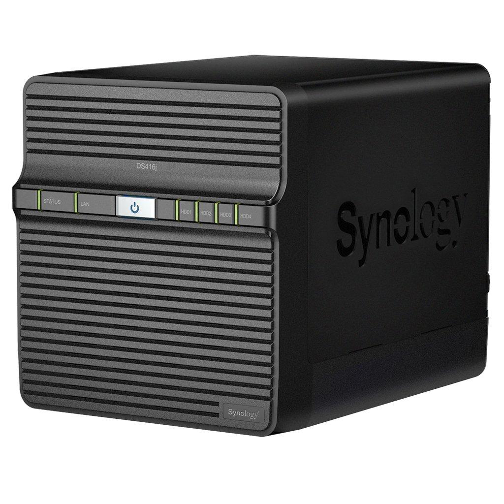 """Synology DS416j Boîtier NAS pour 4 Disques SATA 3,5""""/2,5"""" 1.3 GHz Dual Core 32 To 512 Mo de mémoire Noir product image"""