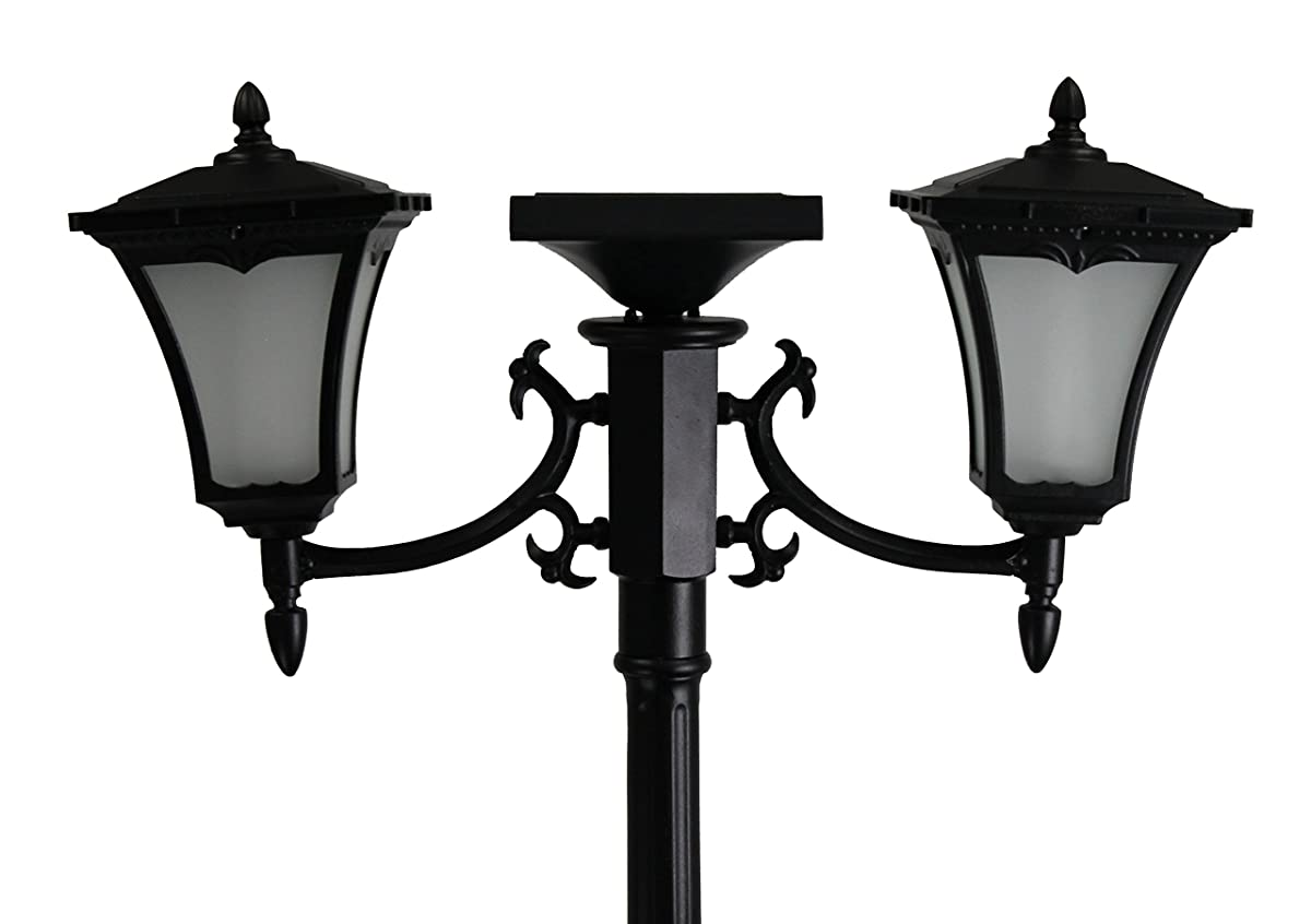 Sun-Ray 312014 Vittoria 2-Head Solar LED Lamp Post & Planter, Batteries Included, 7, Black