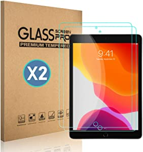 [2 pack] TDA iPad 10.2 inch Glass Screen Protector (2020/2019 released, 8th/7th Generation) Tempered Glass Film [Crystal Clear] [9H Hardness] [Bubble Free] for iPad 10.2 inch - Apple Pencil Compatible