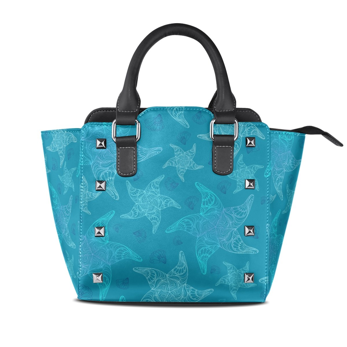 Womens Genuine Leather Hangbags Tote Bags Starfish Purse Shoulder Bags