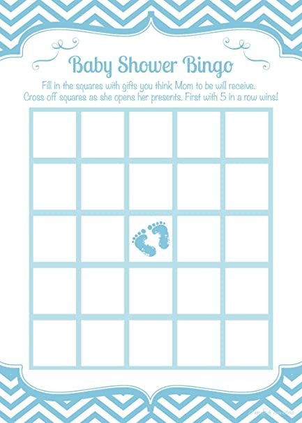 amazon com blue feet boy baby shower bingo game cards 50 count