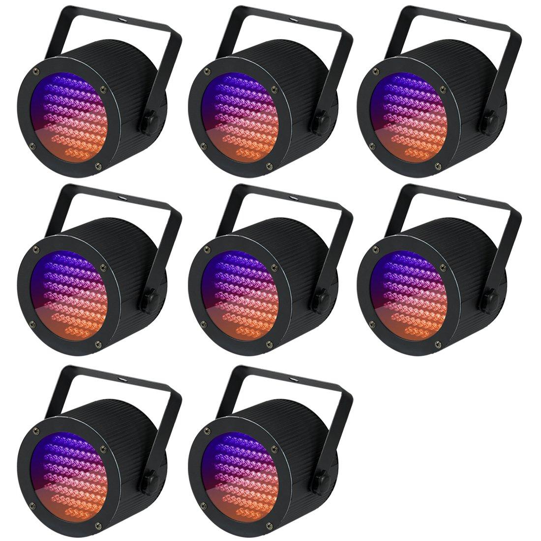 Missyee Stage Lights Disco Lights, Full RGB Color Mixing LED Flat Par Can 86 Leds Par Light (8 pack)