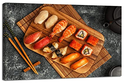 Yiijeah Sushi Canvas Wall Art Picture Print Painting Decor For Kitchen  Dining Room Restaurant Decoration Japanese