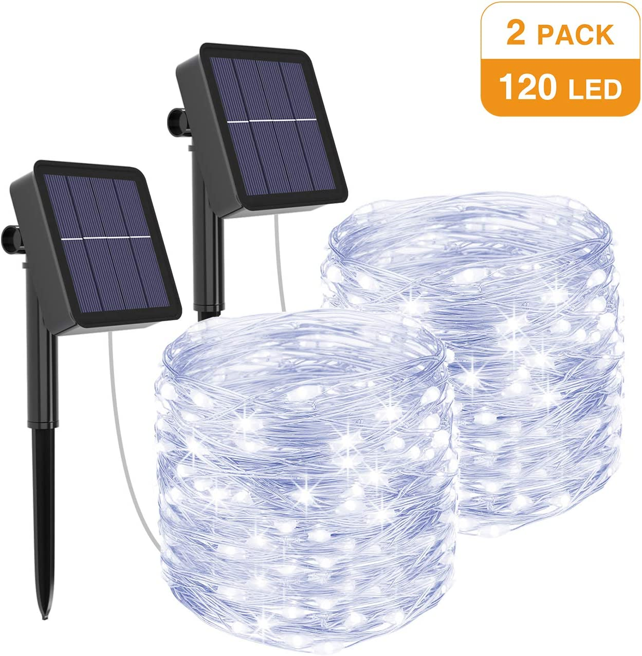 kolpop Solar String Lights 2Pack 39Ft 120LED Solar Powered Fairy Lights Outdoor 8 Modes Copper Wire Decoration Christmas Lights Waterproof for Garden Yard Camping Patio Trees Party Deco Cold White