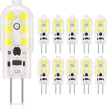 DiCUNO 10-Pack G4 1.5W LED Bulbo,180LM, bombillas de iluminación equivalentes a 20W halógenas, luz diurna 6000K blanco, no regulable, reemplazo para la iluminación de la cocina, luces de señalización: Amazon.es: Iluminación