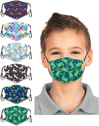 6PCS Face Bandanas Ear Muffs Cartoon Dust-Proof Cotton Washable Reusable