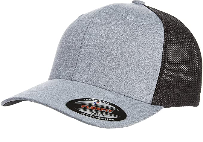 7153b5ed Flexfit Men's Melange Stretch Mesh Cap, Heather Grey/Black One Size ...