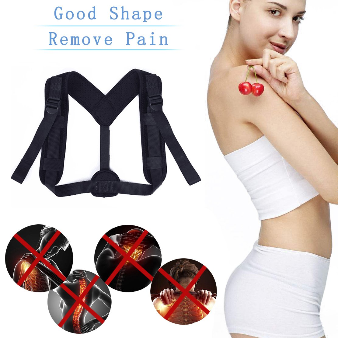 Posture Corrector Upper Back Braces for Women Men, Adjustable Thoracic Brace for Hunching Slouching, Neck Shoulder Supports for Upper Back Alignment and Pain Relief, Bonus Gift 2x Armpit Pads by STSTECH (Image #4)