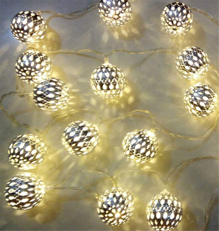 20er LED Micro Lichterkette Kugel Marokkanisch Batterie Timer Innen Lights4fun