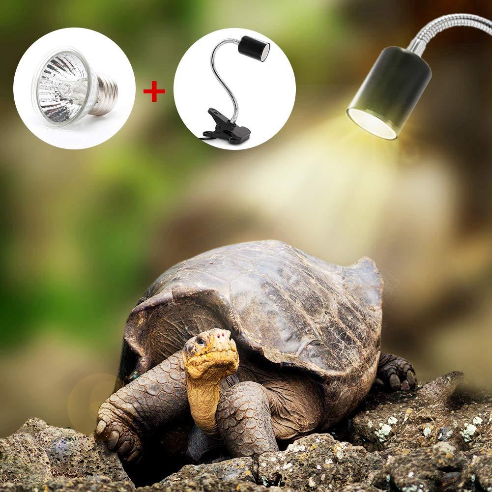 Laduup Lámpara de Tortuga acuática para acuarios Que iluminan 25W UVA UVB con rotación Larga de 360 ° para Reptiles y Anfibios [Clase de eficiencia ...