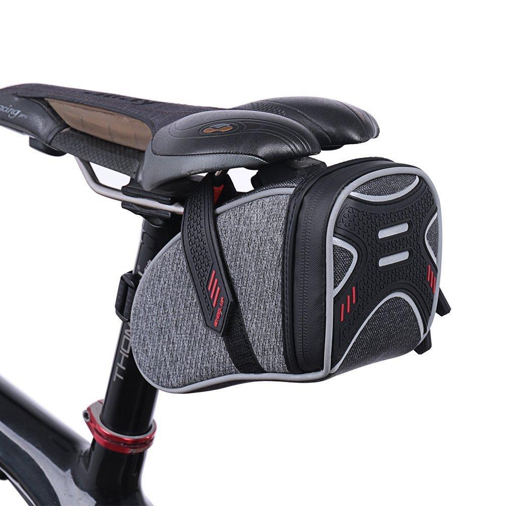 Waterfly Strap-On Bike Saddle Bag Bicycle Seat Bag Cycling Wedge Storage Bag Reflective Stripes