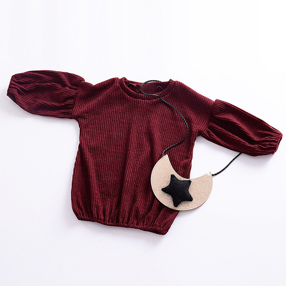 ❤️Mealeaf❤️Toddler Infant Baby Kids Girls Wine Color Solid Lantern Long Sleeve Shirt Tops Outfits Clothes Autumn and Winter Children's Bottom Skirt (2-3 Years Old, Wine) meal-leaf