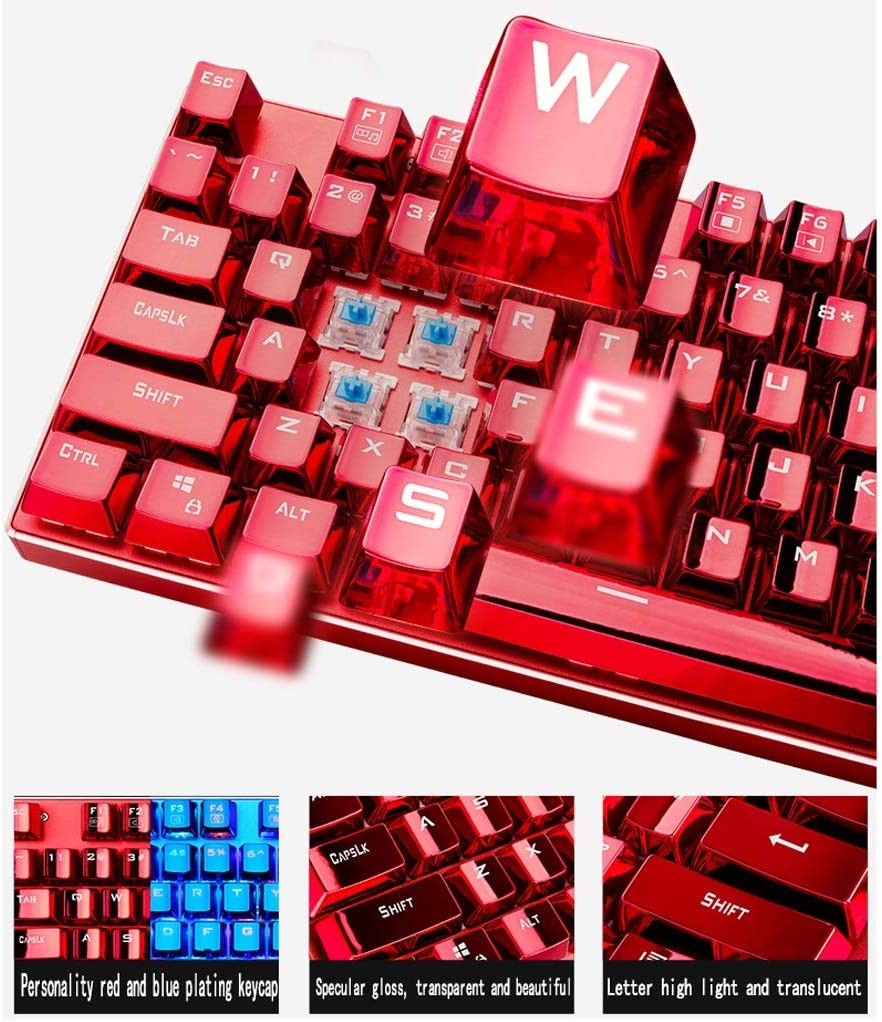 QUD Wired Gaming Keyboard Color : Blue-A 87 Keys~ Without Conflict~ Multiple Axes~ Metal Texture 20//3//18 RGB Backlit Gaming Keyboard with Multimedia Keyboard Mechanical Keyboard