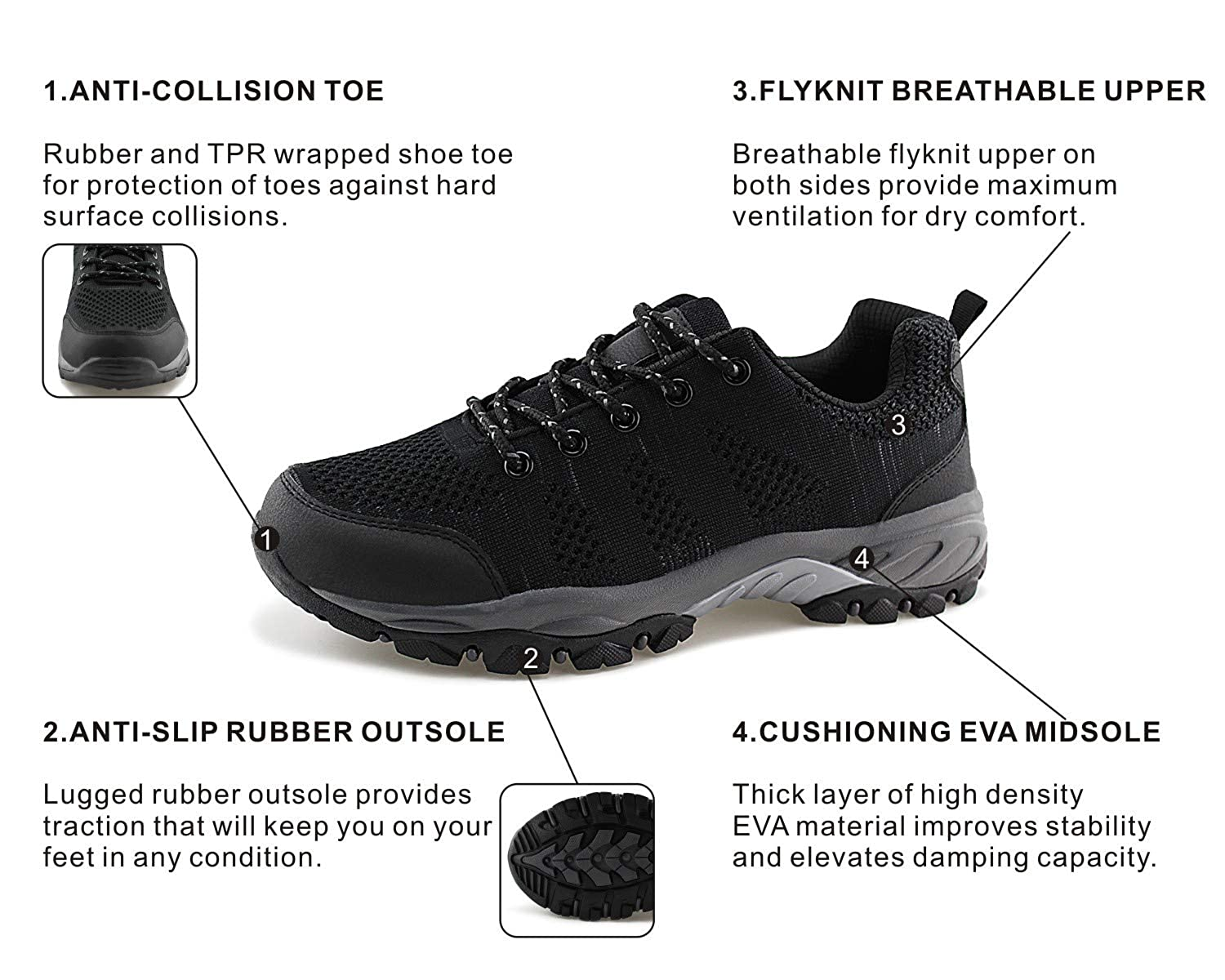 Jabasic Women Hiking Shoes Breathable Knit Athletic Outdoor Sneakers