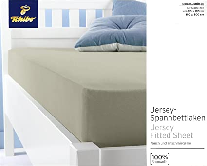 TCM Tchibo Jersey-sábana bajera para colchones de 90 x 190 - 100 x 200
