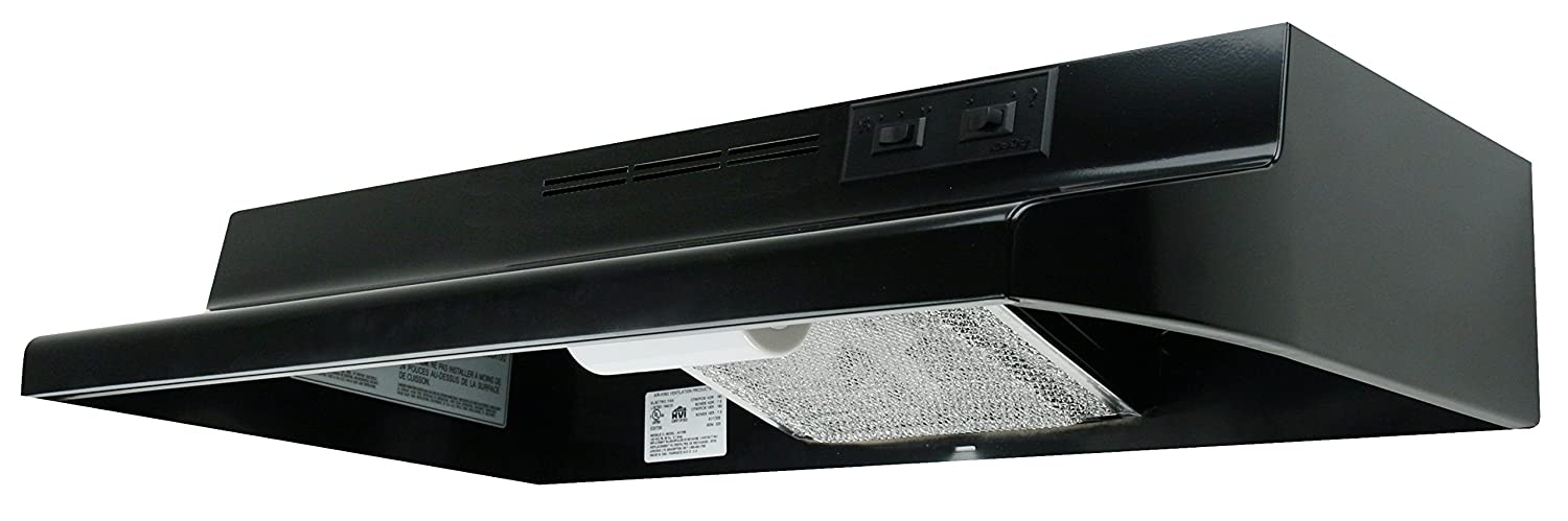 Air King AD1306 Advantage Ductless Under Cabinet Range Hood with 2-Speed Blower, 30-Inch Wide, Black Finish