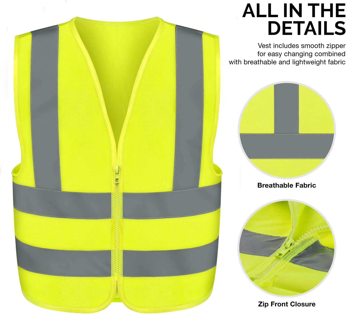 Neiko 53940A High Visibility Safety Vest, Medium, Neon Yellow - Reflective Safety Vest -