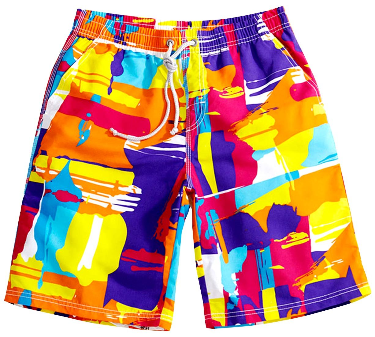 Colorful Printing Surf Trunks Big and Tall Quick-Drying Cargo Water Shorts Plus Size Fashion Breathable Bathing Suits, Size XXL