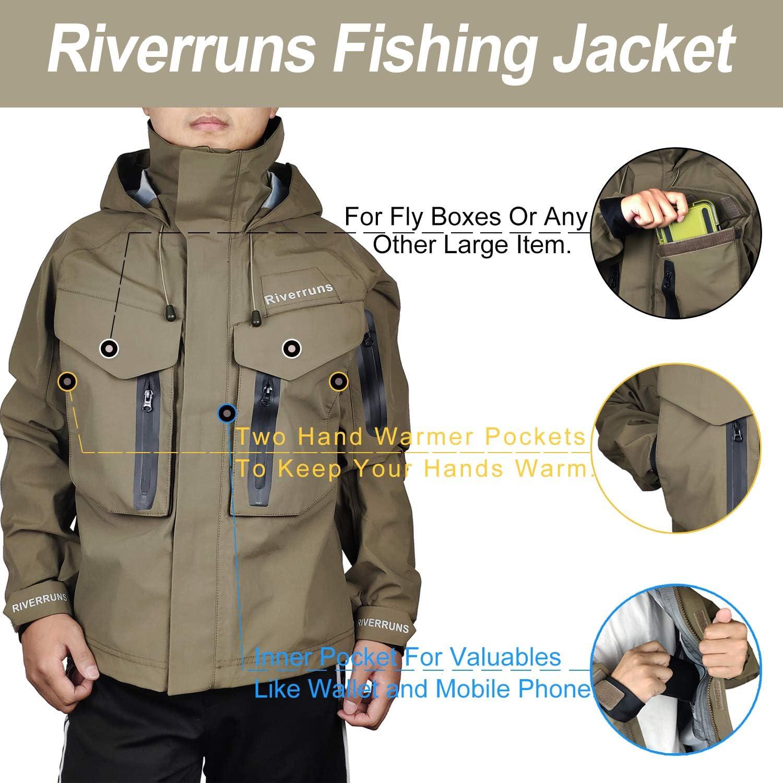 Kayak and Hunting. Hiking Riverruns Fishing Wading Jacket,Breathable Outdoor Waterproof Fly Fishing Wading Rain Coat for Men Fishing