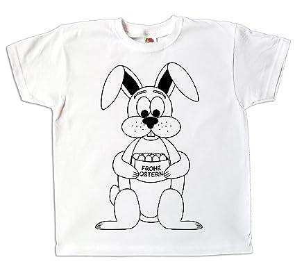Pixkids Ostern Kinder T Shirt Osterhase Zum Bemalen Und Ausmalen Mit