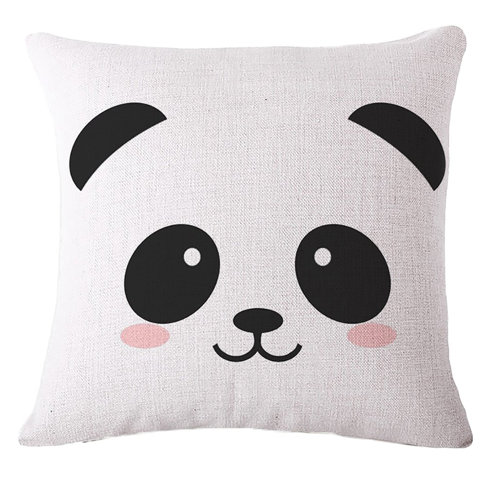 AAA226 Cartoon Panda Print Square Pillow Case Cushion Throw Cover Home Sofa Decor (1#)