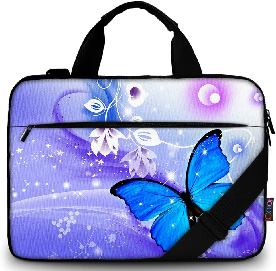 "iColor 11.6-12 13 13.3-inch Laptop Shoulder-Bag - Canvas Computer Tablet Carrying Case 13-13.3 inch Notebook Briefcase (12"" ~13.3"", Blue Butterfly)"
