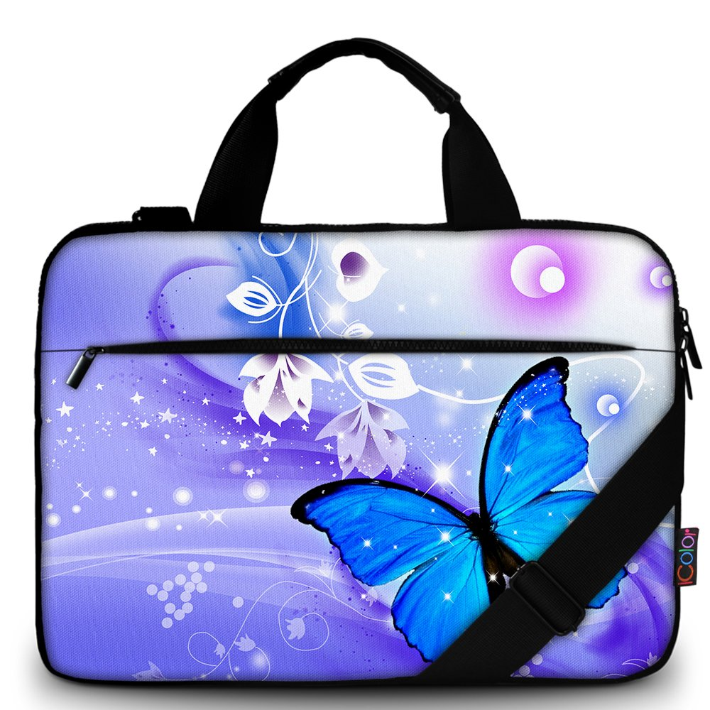 iColor 15'' Canvas Laptop Shoulder Messenger Bags 14'' 15.4 Inch Office Briefcase 15.6'' Computer PC Notebook Tablet Handle Cases Carrying Sleeve Cover Holder (14''~15.6'', Blue Butterfly)