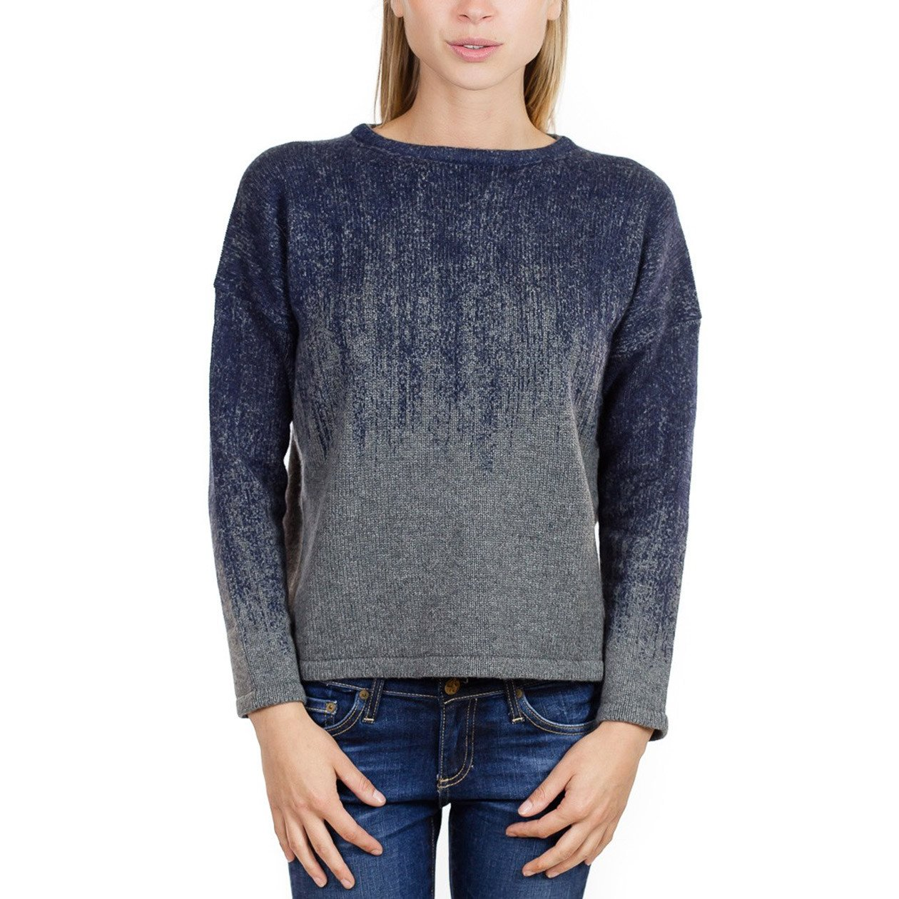 Fine Collection Womens Ombre Crewneck Sweater Heather Grey/Navy XS