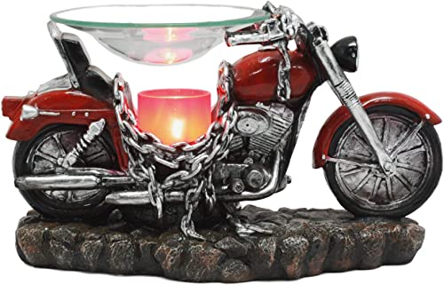 Ebros Red Vintage Motorcycle Classic Chopper Bike Electric Oil Burner Or Tart Warmer Decor Statue 9.5 Long Home Fragrance Aroma Accessory Decor Figurine