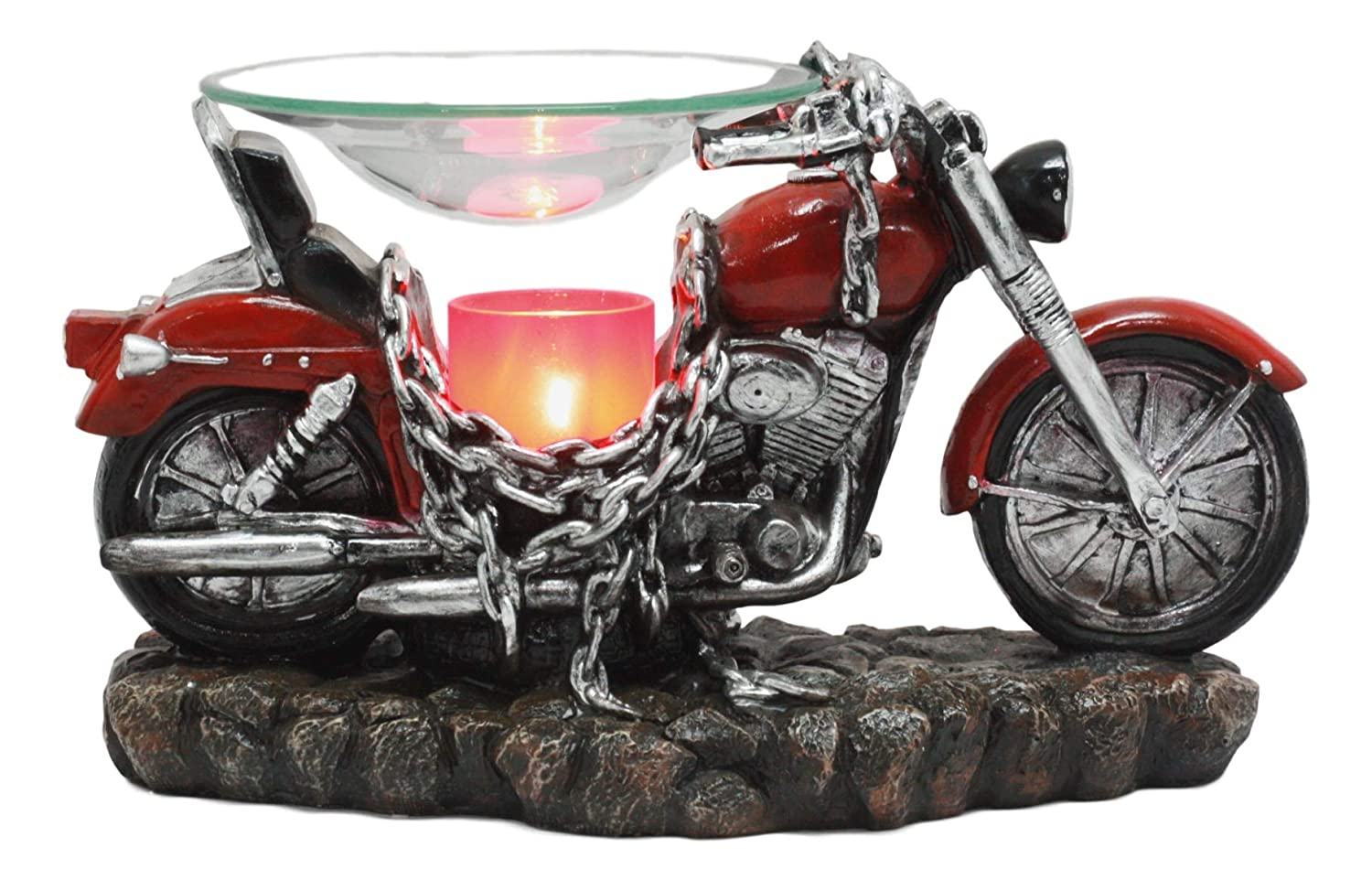 "Ebros Red Vintage Motorcycle Classic Chopper Bike Electric Oil Burner Or Tart Warmer Decor Statue 9.5"" Long Home Fragrance Aroma Accessory Decor Figurine"
