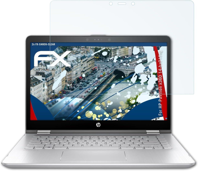 atFolix Schutzfolie kompatibel mit HP Pavilion x360 14-ba019ng Panzerfolie ultraklare und sto/ßd/ämpfende FX Folie 2X