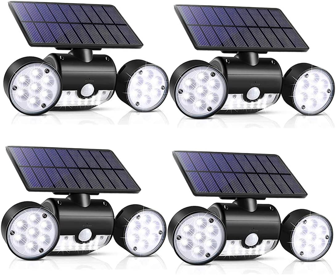 Outdoor Solar Lights, 30 LED Solar Security Lights with Motion Sensor Dual Head Spotlights IP65 Waterproof 360 Adjustable LED Solar Motion Lights for Front Door Garage Patio Deck Pack 4