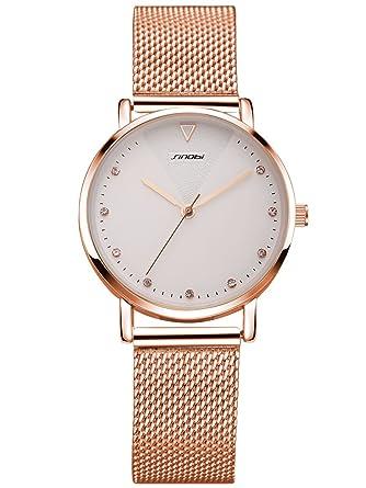 Alienwork Reloj Mujer Relojes Acero Inoxidable Oro Rosa Analógicos Cuarzo Blanco Impermeable Strass Purpurina Elegante: Amazon.es: Relojes