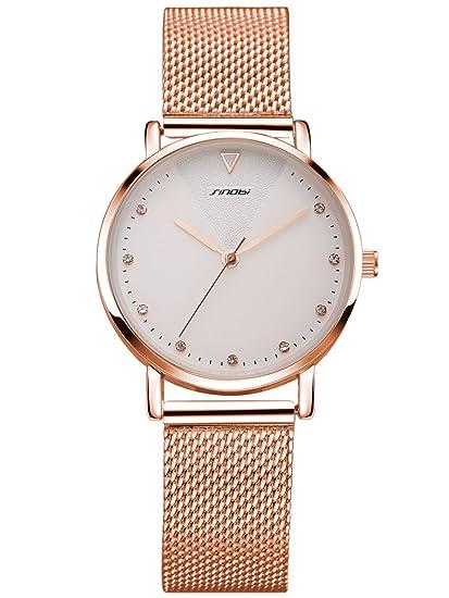 Alienwork Reloj Mujer Relojes Acero Inoxidable Oro Rosa Analógicos Cuarzo Blanco Impermeable Strass Purpurina Elegante