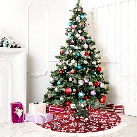 Christmas Tree Plush Velvet Tree Skirt Base Floor Cover Decor Home Mat Ornament