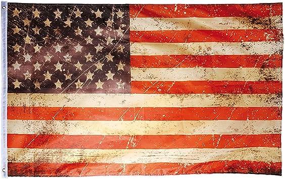 Flaggenking Usa Vintage Retro Stars Und Stripes Wetterfest Fahne Flagge Mehrfarbig 150 X 90 X 1 Cm Garten
