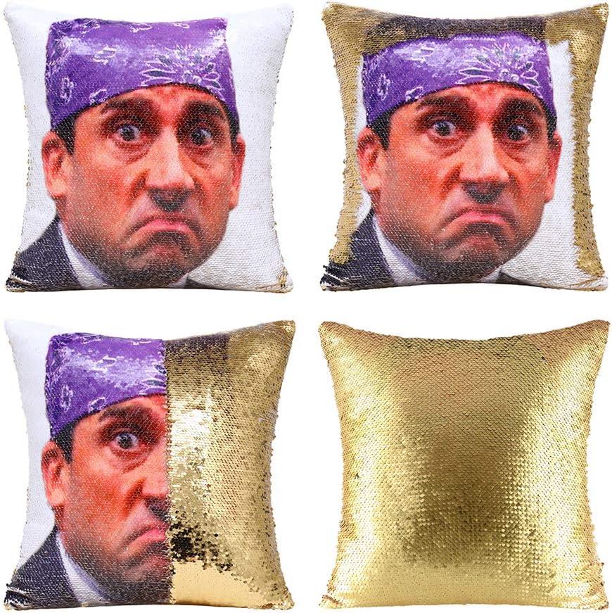 MODCON The Office Prison Mike Flip Sequin Pillow Cover,Magic Reversible Throw Pillow Case Change Color Decorative Pillowcase 16x16 inches (Gold)