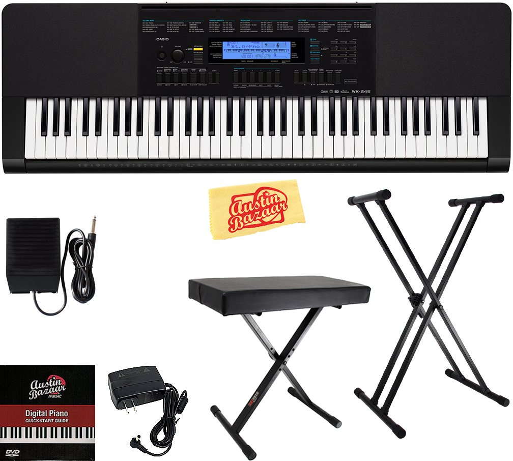 Casio WK-245 Workstation Keyboard Bundle with Adjustable Stand, Bench, Sustain Pedal, Power Supply, Austin Bazaar Instructional DVD, and Polishing Cloth by Casio