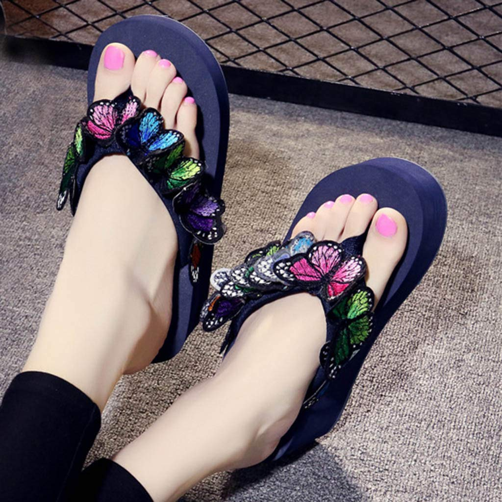 Tsmile Women Flip Flops Ladies Girls Floral Print Wedges Sandals Open Toe High Heel Slippers Beach Shoes