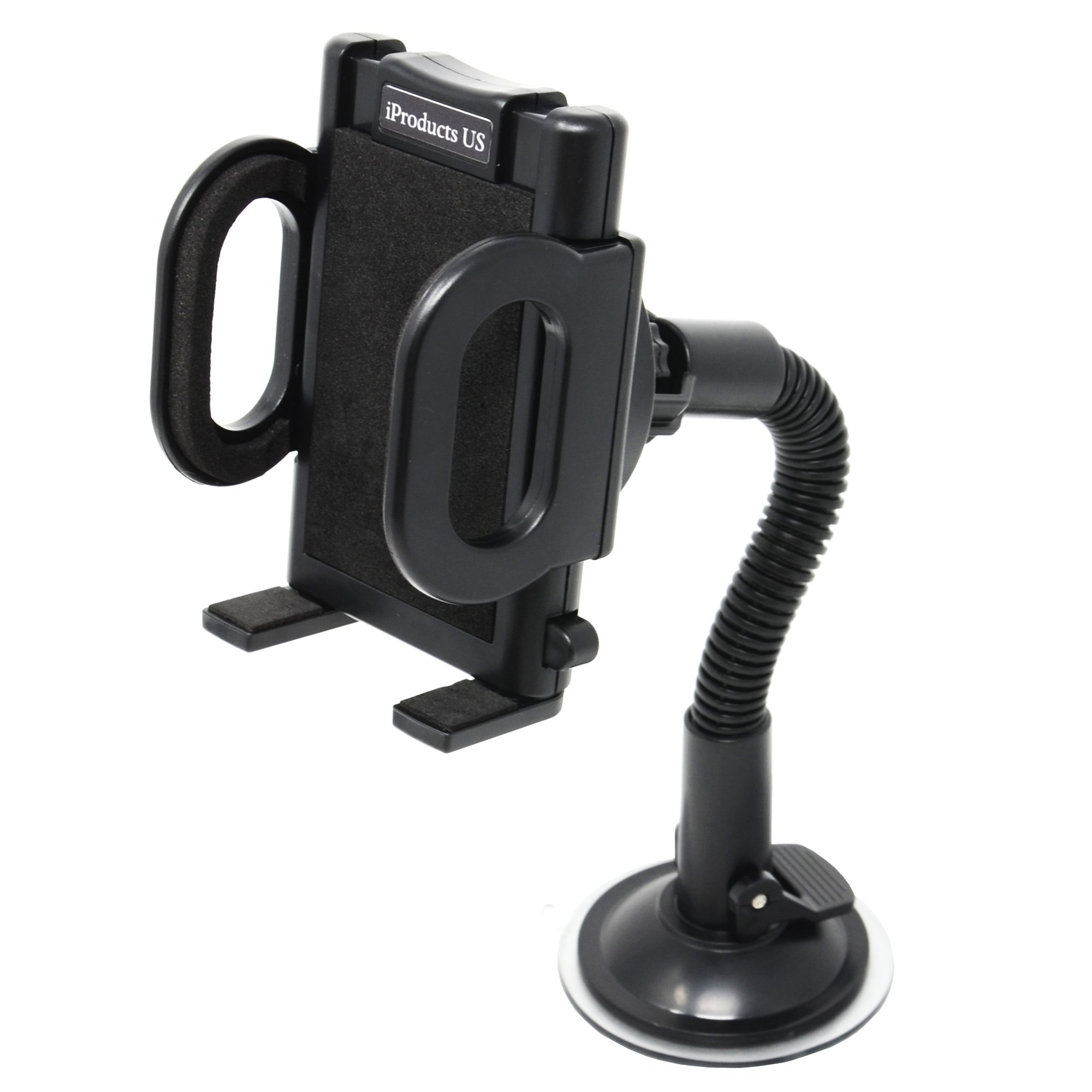 Phone Holder for Car iProductsUS Car Phone Mount Universal Windshield Cell Phone Holder for iPhone 7/6S/6 Plus/5S/5 Samsung Galaxy S7/S6 Edge Nexus LG HTC GPS Devices 3.5-6 inch (Black)