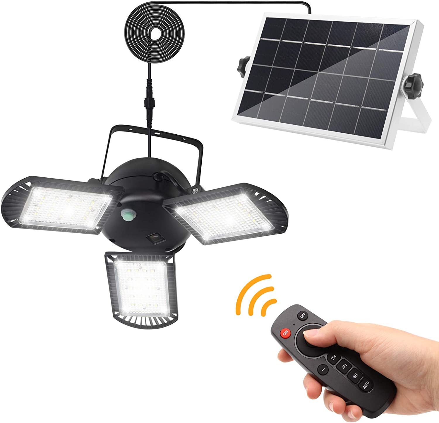 Solar Lights Outdoor, KUFUNG 3 Leaf Solar Pendant Light with Adjustable Multi-Position Panels, Waterproof Solar Lamp with Remote Control, for Garage, Deck, Fence, Patio, Shed, Tent