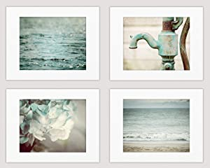 Shabby Chic Aqua, Blue, Teal Bathroom Wall Art Decor Set of 4 Photo Prints (Not Framed). Rustic Farmhouse Beach and Floral Pictures. (4 8x10 Prints with 11x14 Mats)