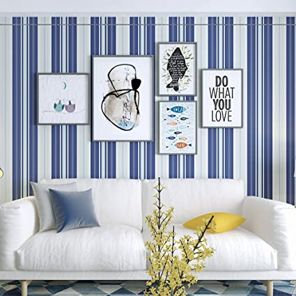 Amazon Com Okydoky Blue And White Vertical Stripes Wallpaper